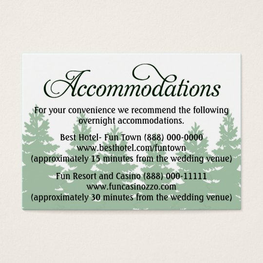 Forest Wedding Accommodation - Reception Cards