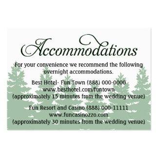 Forest Wedding Accommodation - Reception Cards Business Card Templates