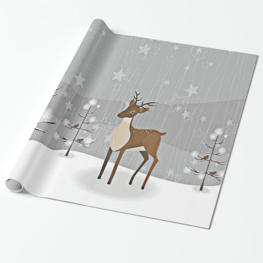 Forest Winter Wonderland Birds and Deer Wrapping Paper