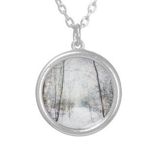 Forest Winter Wonderland Round Pendant Necklace