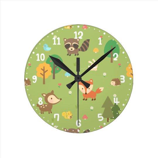 Forest Woodland Animal Pattern Kids Room Decor Round