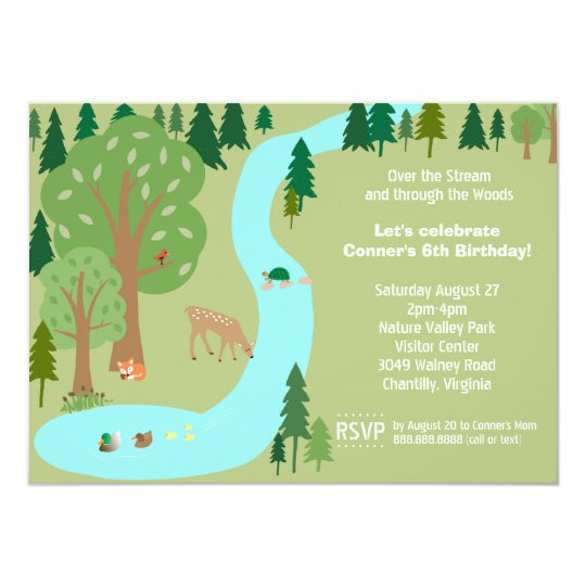 Forest Woodland Animals Nature Birthday Party Card
