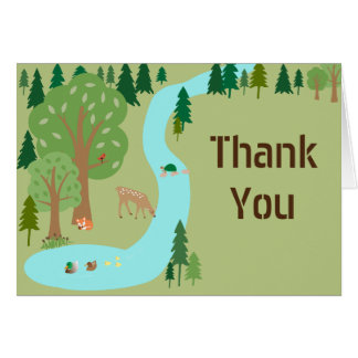 Forest Woodland Animals Nature Scene Thank You Greeting Card