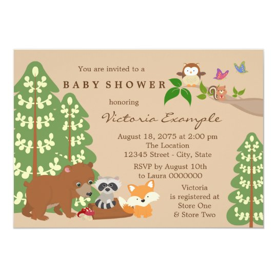 Forest Woodland Baby Shower Card