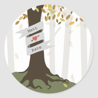 Forest Woodland Fall Autumn Wedding Classic Round Sticker
