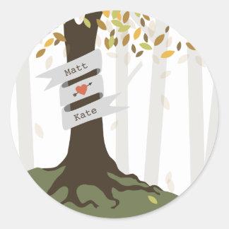 Forest Woodland Fall Autumn Wedding Round Sticker