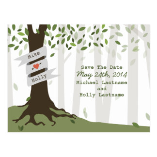Forest / Woodland Wedding Save The Date Postcard