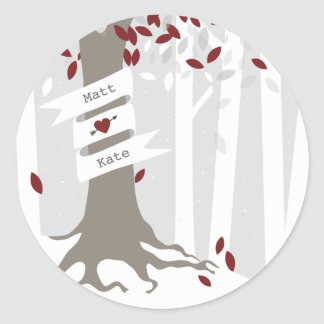 Forest Woodland Winter Snow Red Wedding Round Sticker