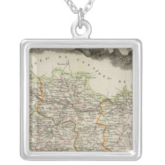 Forests shown by stippling District Silver Plated Necklace