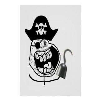 Forever Alone Pirate Comic Face Posters