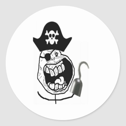 Forever Alone Pirate Comic Face Round Sticker