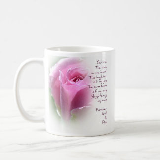 Forever and A Day Rose Poem Coffee Cup Basic White Mug