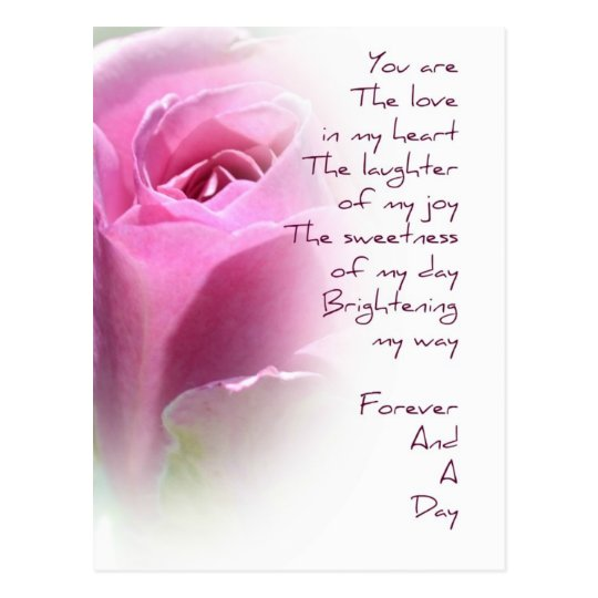 Forever and A Day Rose Poem Postcard