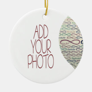 Forever and for always flight add your photo Double-Sided ceramic round christmas ornament