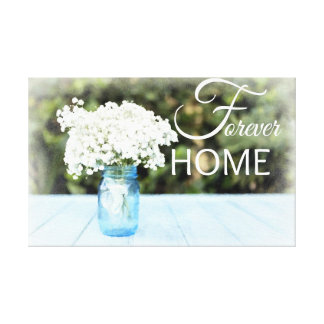 """""""Forever Family"""" Blue Floral Watercolor Wall Art"""