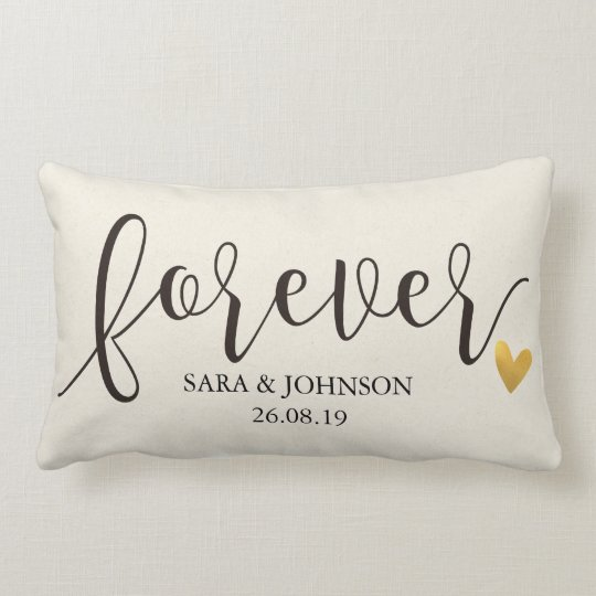 Forever,Forever Together,Personalised Wedding Gift Lumbar Cushion