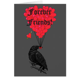 Forever friends gothic crow and heart card