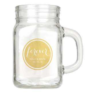 """Forever"" Gold Circle Wedding Day Mason Jar"