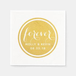 Forever Gold Circle Wedding Napkin Disposable Napkin