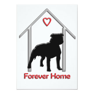 Forever Home Black Pitbull Logo 13 Cm X 18 Cm Invitation Card