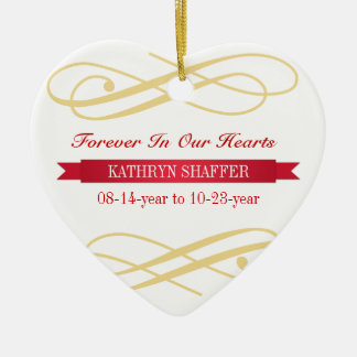 Forever In Our Hearts memory of memorial custom Ceramic Heart Decoration