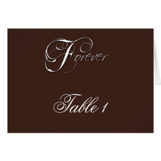 Forever Initials on Espresso Brown Table Number Greeting Card