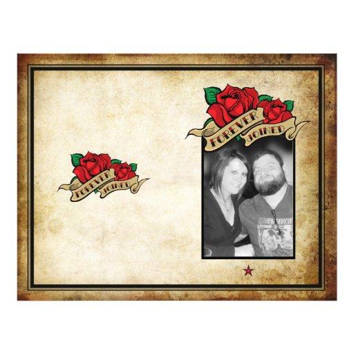 Forever Joined Rose Urban Tattoo Wedding Program Full Color Flyer