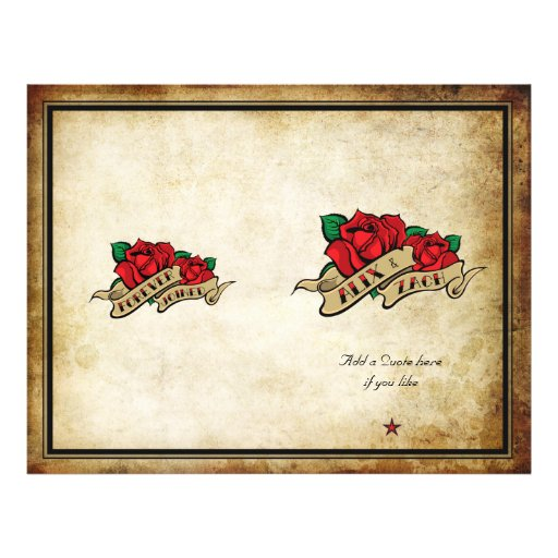 Forever Joined Rose Urban Tattoo Wedding Program Personalized Flyer