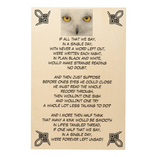 FOREVER LEFT UNSAID wood plaque Wood Print