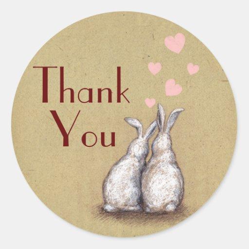 Forever Love Bunnies Custom Thank You Sticker