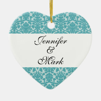Forever love custom robin blue damask heart shape christmas ornament