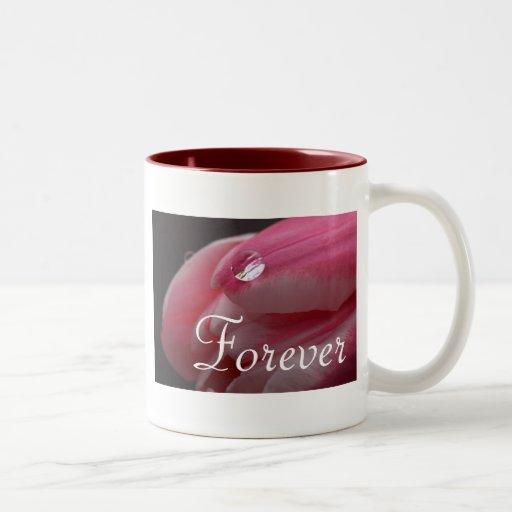 Forever Love Pink Rose Raindrop Mug