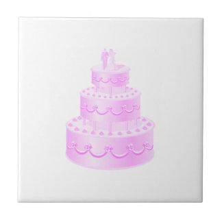 Forever Love Pink Wedding Cake Tile