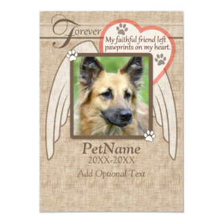 Forever Loved Angel Wings Pet Sympathy Custom 13 Cm X 18 Cm Invitation Card