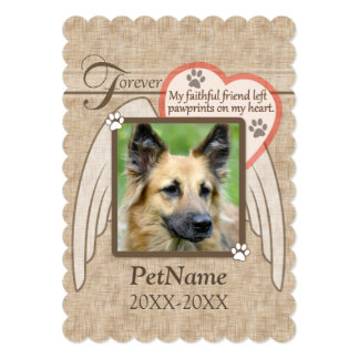 "Forever Loved Angel Wings Pet Sympathy Custom 5"" X 7"" Invitation Card"