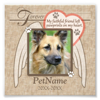 Forever Loved Angel Wings Pet Sympathy Custom Photo Print