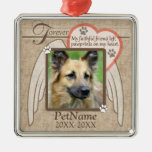 Forever Loved Angel Wings Pet Sympathy Custom Silver-Colored Square Decoration