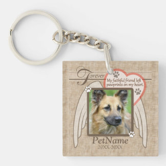Forever Loved Angel Wings Pet Sympathy Custom Single-Sided Square Acrylic Key Ring
