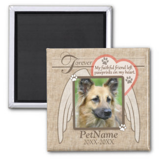 Forever Loved Angel Wings Pet Sympathy Custom Square Magnet