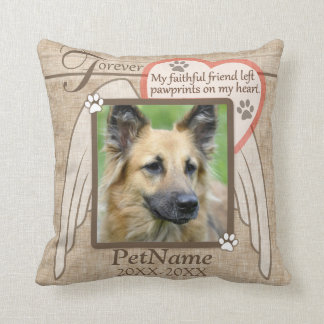 Forever Loved Angel Wings Pet Sympathy Custom Throw Pillow