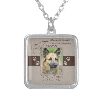 Forever Loved Pet Sympathy Square Pendant Necklace