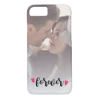 Forever Overlay Script Pink Hearts Custom Photo iPhone 8/7 Case