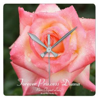 Forever Princess Diana: Rosa Elegant Lady Square Wall Clock