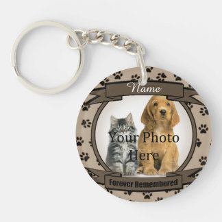 Forever Remembered - Brown Paw Prints Pet Loss Double-Sided Round Acrylic Key Ring