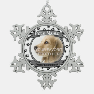 Forever Remembered Dog or Cat Memorial Pewter Snowflake Decoration