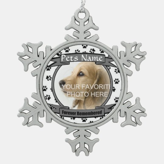 Forever Remembered Dog or Cat Memorial Snowflake Pewter
