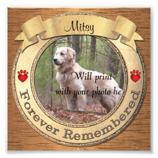 Forever Remembered Personalized Pet Memorial Photo Print