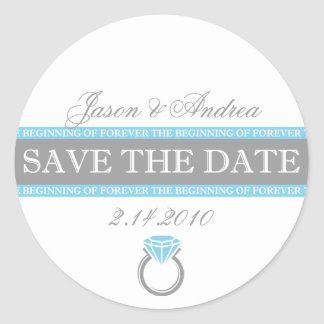 Forever Ring Save The Date Round Sticker