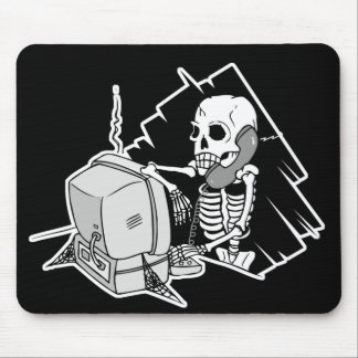 forever skeleton on hold tech support mouse mats