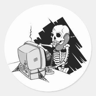 forever skeleton on hold tech support sticker